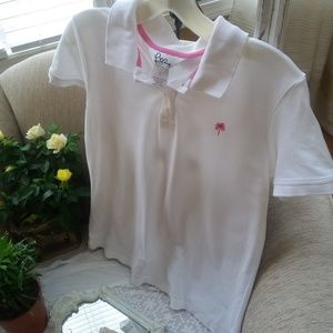 Lilly PULITZER White & Pink POLO Shirt SZ L